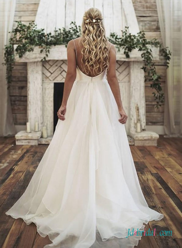 sexy low back simple organza ball gown wedding dress 2019 trends inspired