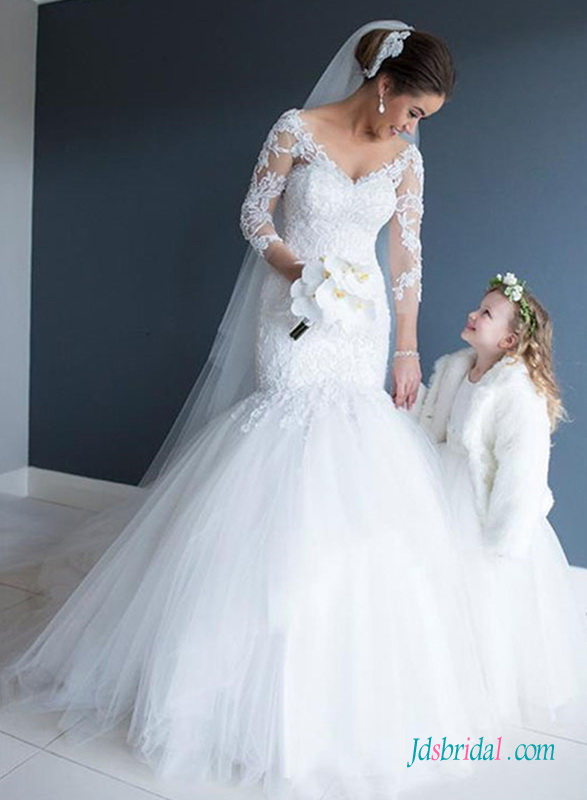 beautiful royal long sleeved lace mermaid wedding dress with puffy tulle bottom