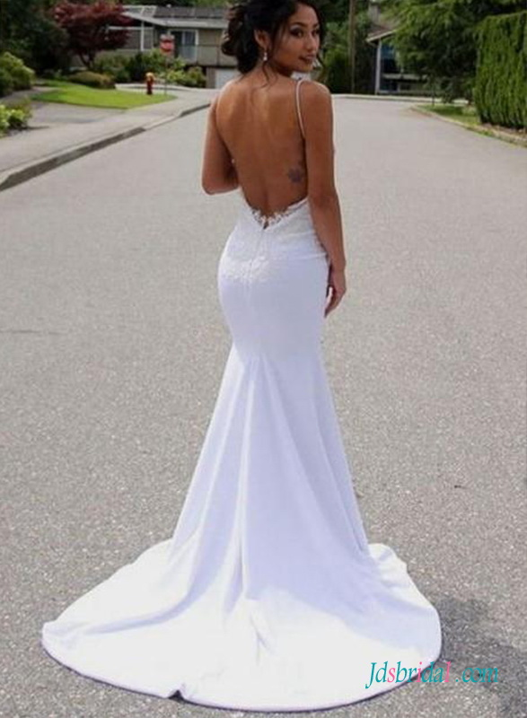 H0717 Sexy backless curvy mermaid wedding dress with spaghetti straps