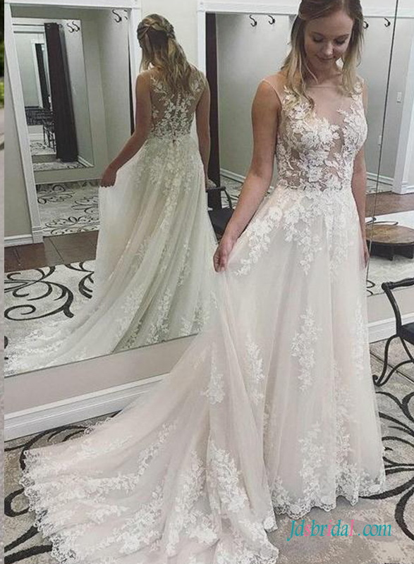 H0718 Sexy sheer lace beach destination wedding dress