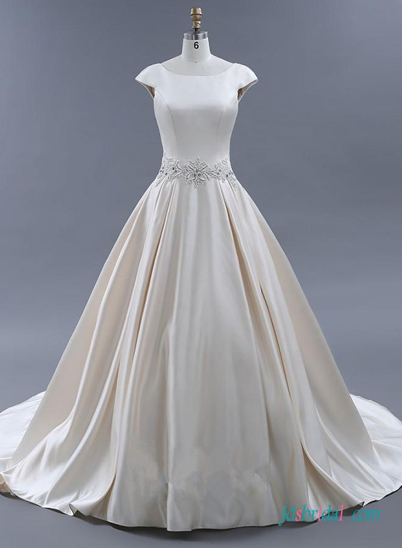 H0723 Grace low back cap sleeved satin wedding ball gown dress