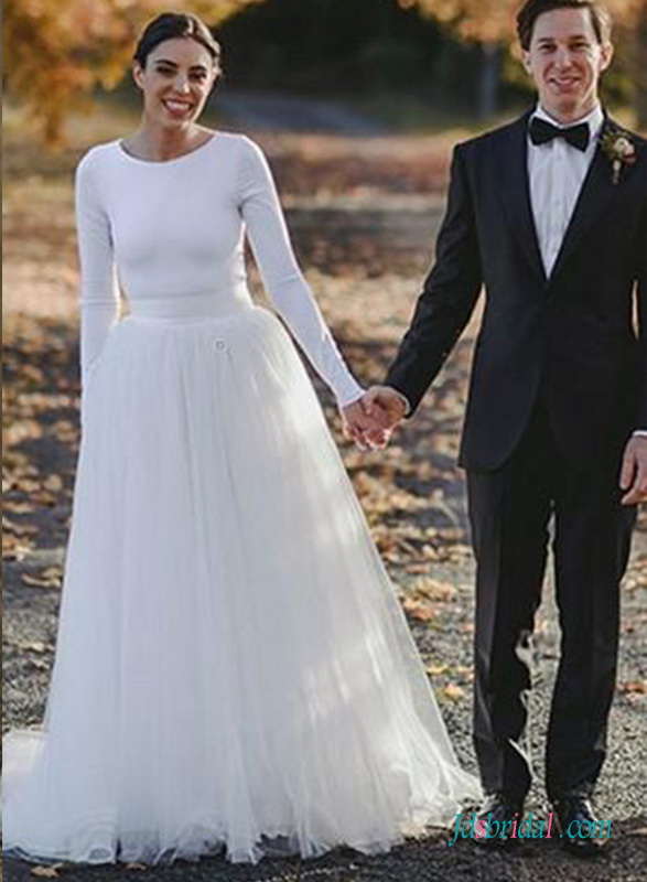 H0724 Long White tulle wedding skirt for sale