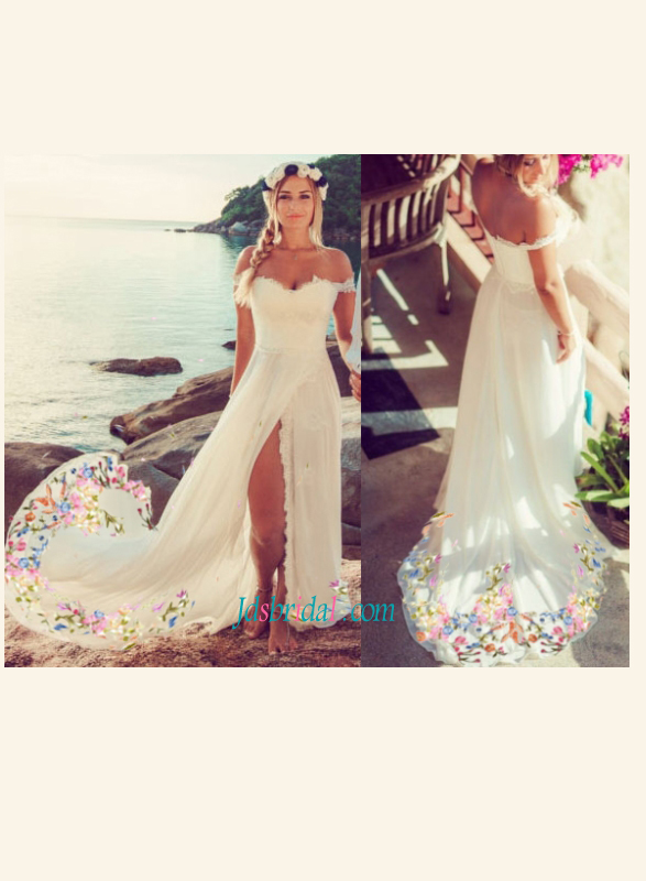 F0018 Hispanic embroidery slit boho chiffon beach wedding dress