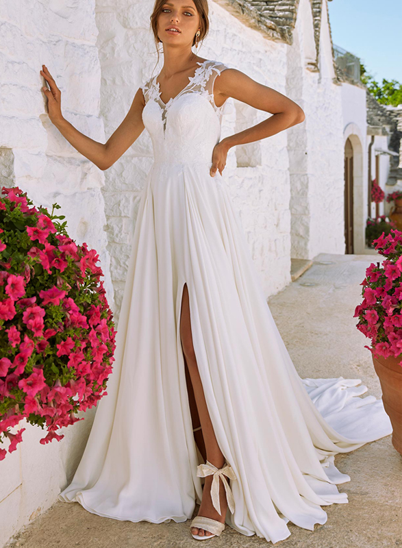 F0019 Beautiful illusion back chiffon destination wedding dress