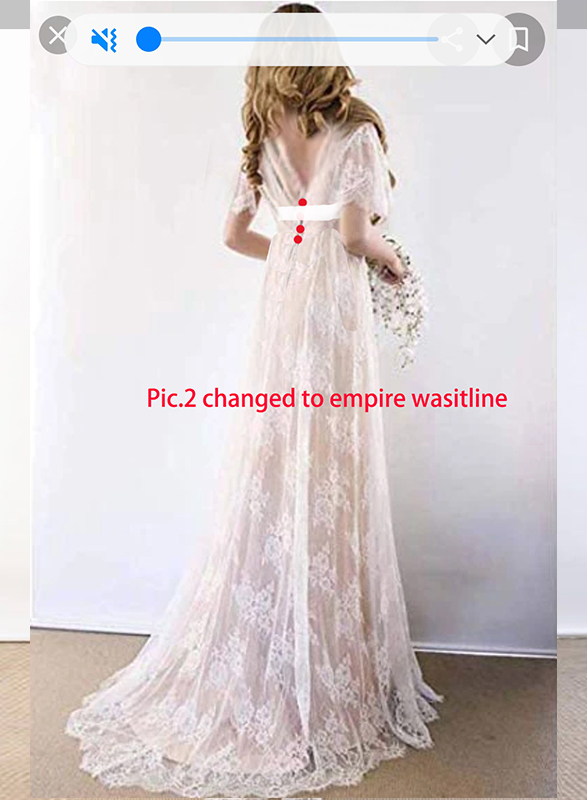 F0022 Custom colored empire waistline lace wedding dress