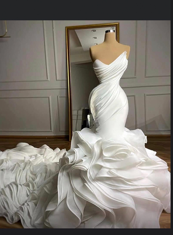 Organza Wedding Dresses Ruffled Layered Organza Wedding Gowns,Summer Dress For Wedding Guest Plus Size
