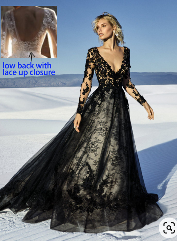 F0024 Black lace long-sleeved low back wedding dress