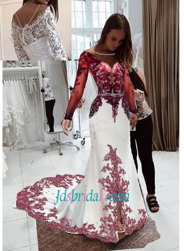 F0025 Burgundy colored mermaid lace long-sleeved wedidng dress