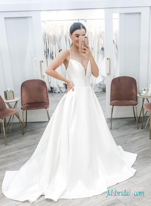 H0469 Simply spaghetti straps sweetheart ball gown wedding