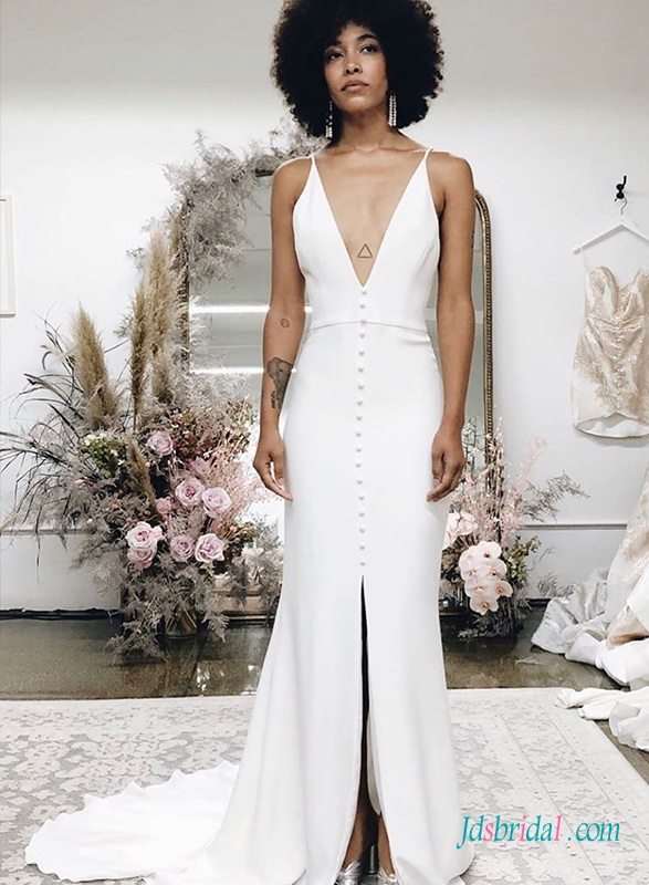 H0472 Sexy simply plunging slit mermaid boho wedding dress
