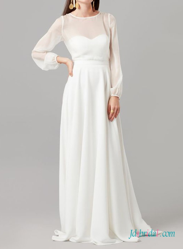 H0476 Simply illusion chiffon long sleeved a line wedding dress