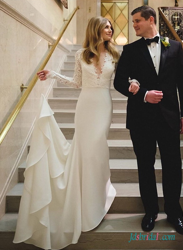 H0482 Romance plunging long sleeved sheath wedding dress