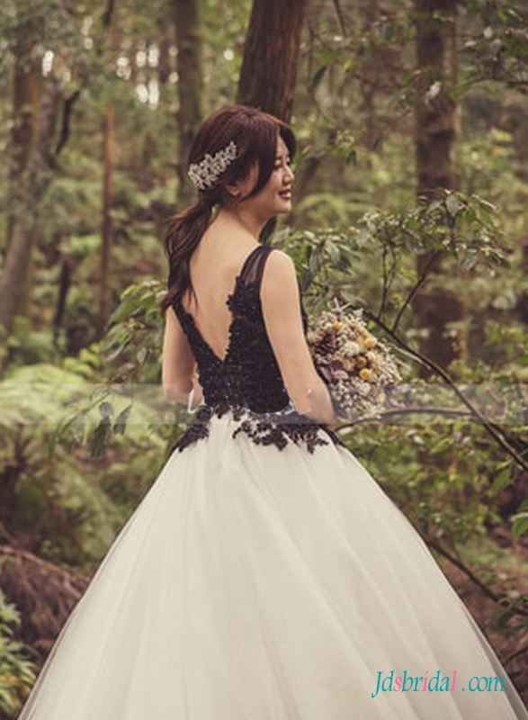 black and white organza ball gown wedding dress with v neckline bodice