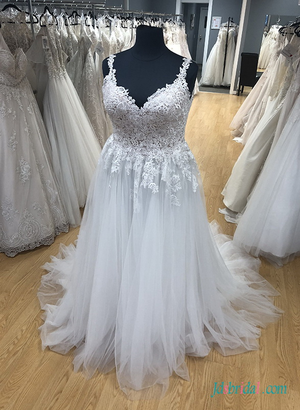 H0486 Romance plus size sweetheart tulle wedding dress