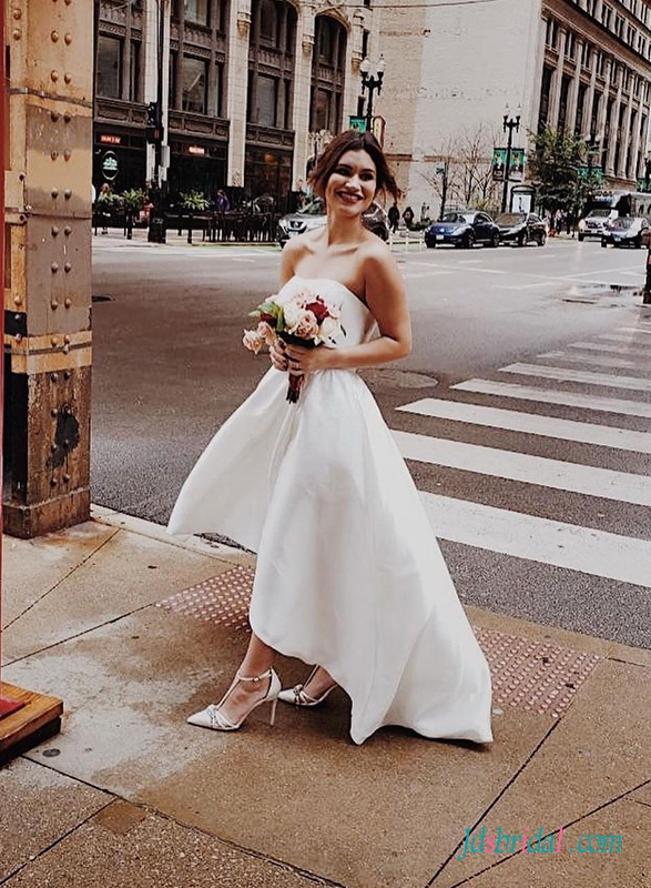 H0496 Simple high low hemline city hall wedding dress