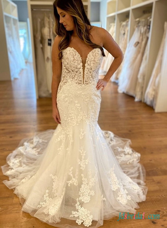 H0509 sexy illusion lace sweetheart mermaid wedding dress