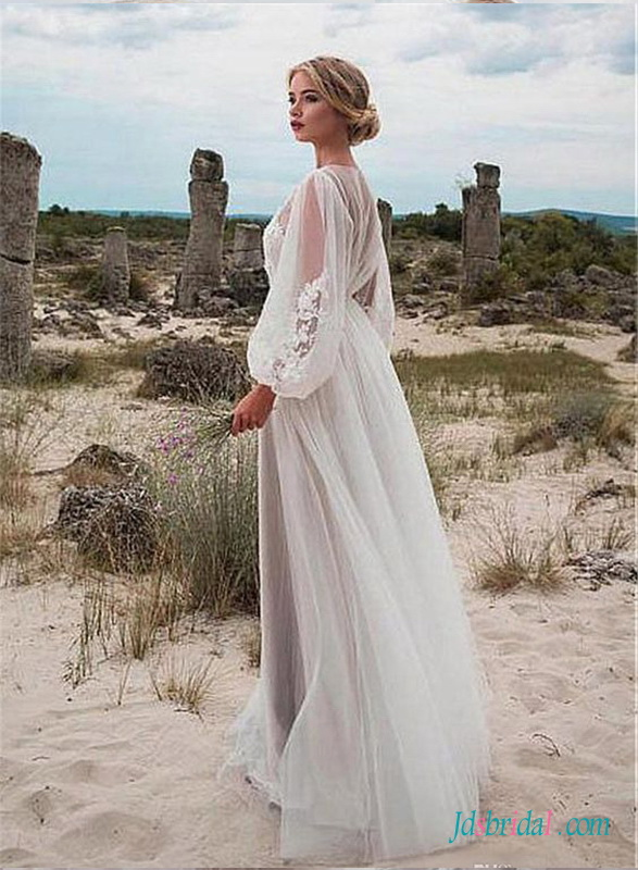 H0515 Sexy airy tulle long sleeved summer boho wedding dress