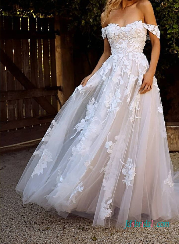 2021 off-the-shoulder tulle princess wedding dress with floral lace