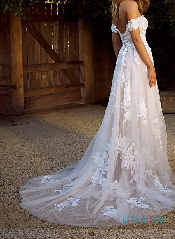 2021 off shoulder princess tulle princess wedding dress with floral lace
