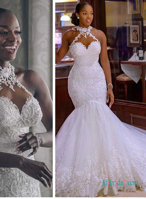 H0450 sexy halter sheer back lace mermaid wedding dress