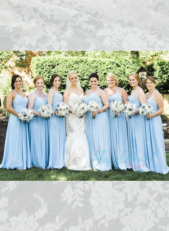 JM14014 light blue colored long chiffon halter bridesmaid dress