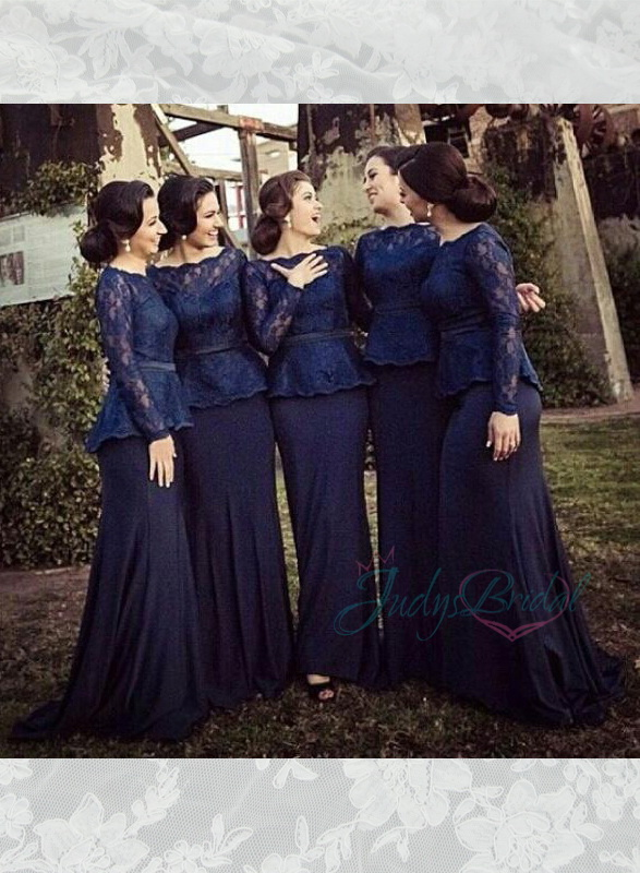 LJ14141 navy blue lace long sleeved chiffon mother of bride bridesmaid dress